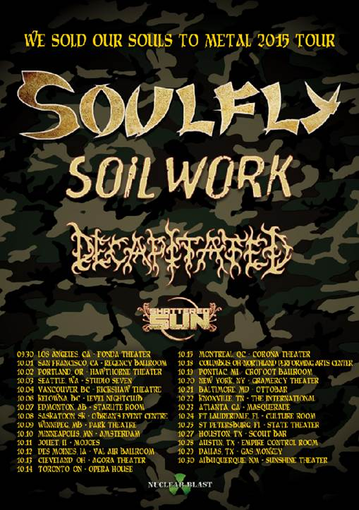 Soulfly - NA Tour 2015